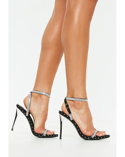 99f4e6cc478 Missguided Black Embellished Studded Barely There Heels in Black - Lyst