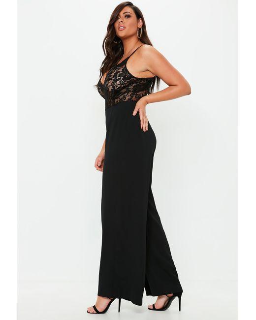 c6543f66511f ... Missguided - Plus Size Black Lace Plunge Wide Leg Jumpsuit - Lyst ...