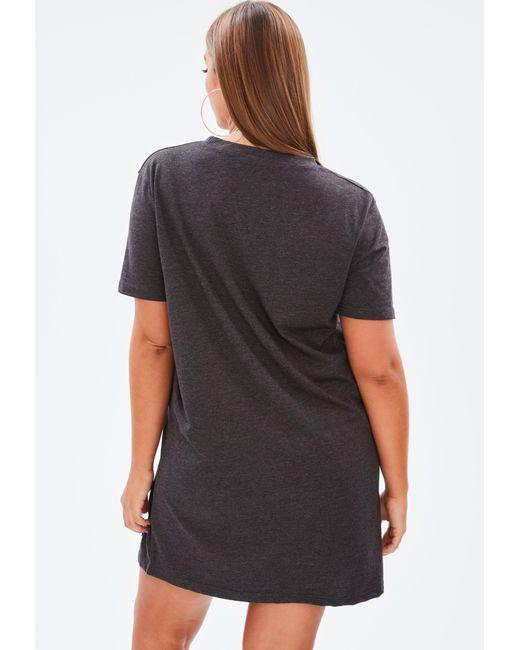 ea3b789b63a ... Missguided - Gray Plus Size Grey Distressed T Shirt Dress - Lyst