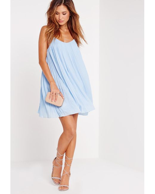 Missguided - Blue Pleated Swing Dress - Lyst