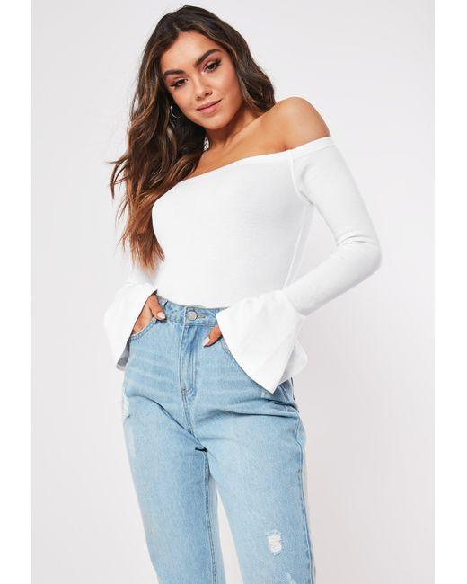 0c699c4b277 Lyst - Missguided Petite White Long Sleeve Bardot Bodysuit in White