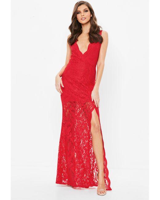 f86f2a42fd ... Missguided - Red Plunge Scallop Trim Lace Maxi Dress - Lyst ...