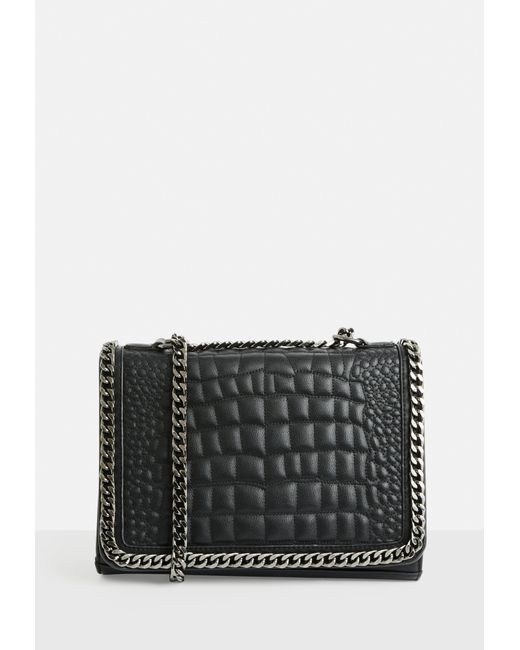 Missguided - Black Faux Leather Croc Print Chain Cross Body Bag - Lyst ... f0c818d7a63e6