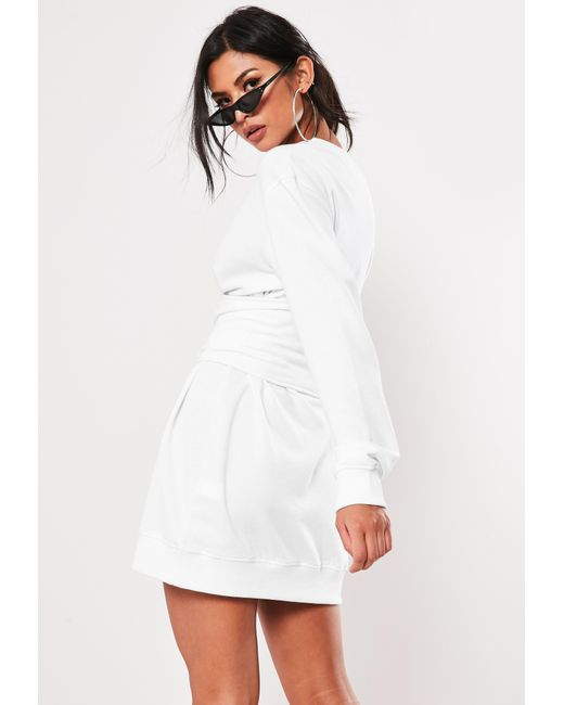 5786b5bf5be Lyst - Missguided White Oversized Corset Waist Sweater Dress in White