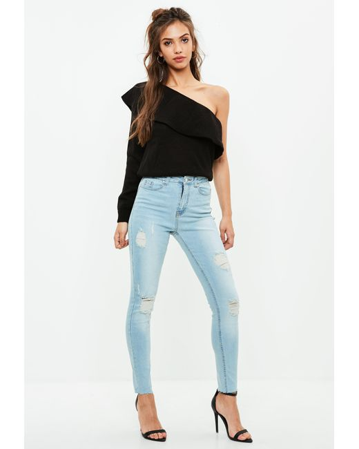 Missguided | Blue Sinner High Waisted Ripped Skinny Jeans | Lyst