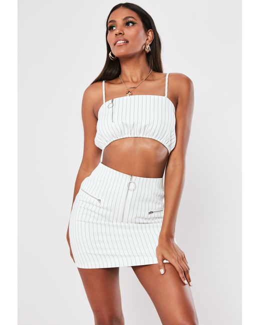 451bea1a3ce6c Lyst - Missguided White Pinstripe Co Ord Crop Top in White