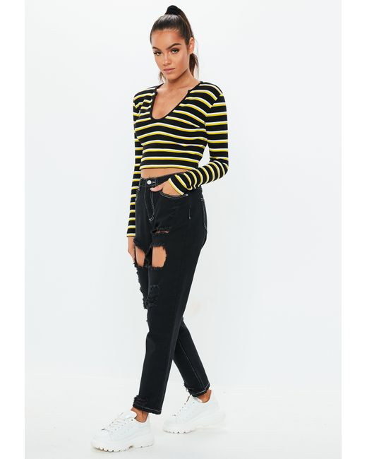 9afc1292a35eb Lyst - Missguided Yellow Notch Neck Stripe Crop Top in Yellow