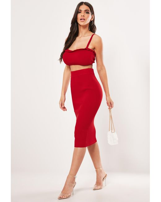 e525c31665dd16 ... Missguided - Red Co Ord Frill Cami Knitted Bralet - Lyst ...