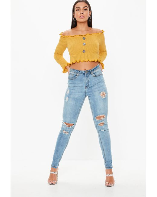 bcd93d762a332 ... Missguided - Multicolor Mustard Button Bardot Crop Top - Lyst ...