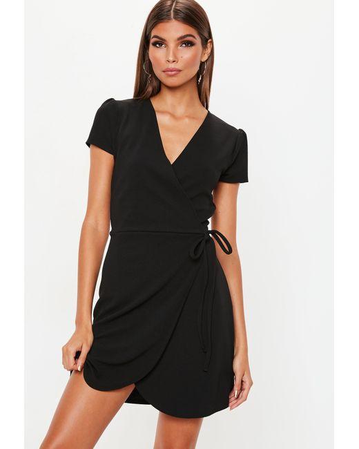 Lyst - Missguided Black Short Sleeve Tie Waist Skater Dress in Black 223d01666