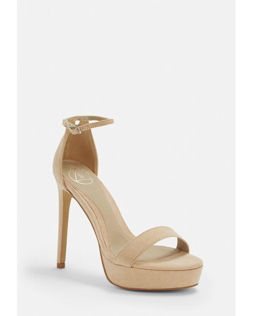 c8d71c02a835 Missguided - Natural Nude Faux Suede Simple Strap Platform Heeled Sandals -  Lyst ...