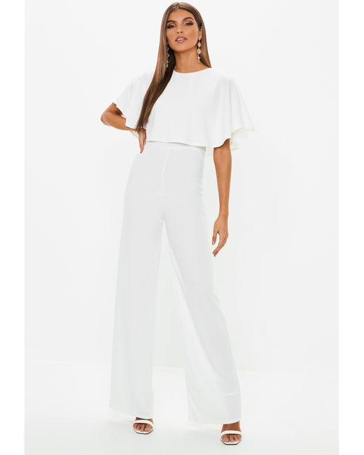 e4c4bf3360a Lyst - Missguided White Cape Wide Leg Jumpsuit in White