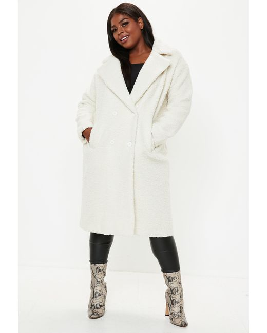 24e4096e73029 ... Missguided - Natural Plus Size Cream Longline Teddy Coat - Lyst ...