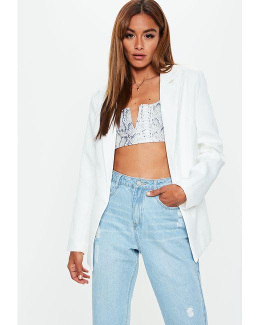c34850b3da2d6 Lyst - Missguided White Boyfriend Blazer in White
