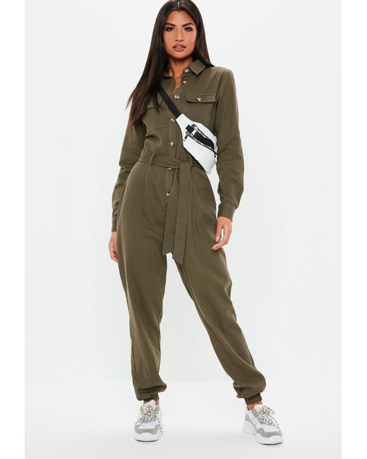 99b4650662 Missguided - Natural Khaki Utility Long Sleeve Jumpsuit - Lyst ...