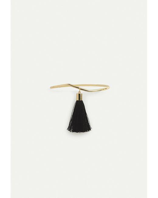 Missguided - Metallic Gold Bar Black Drop Tassel Arm Cuff - Lyst