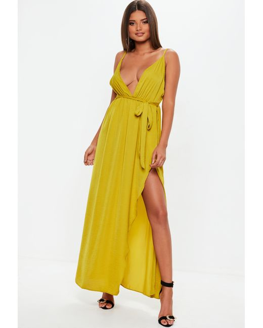 4ff5d923a2 Missguided - Yellow Chartreuse Plunge Satin Tie Maxi Dress - Lyst ...
