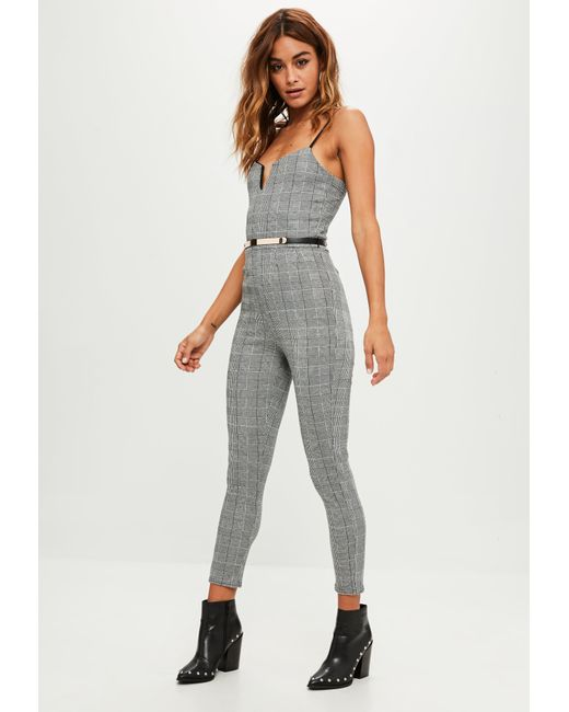 Missguided   Gray Grey Check Belted Jumpsuit   Lyst
