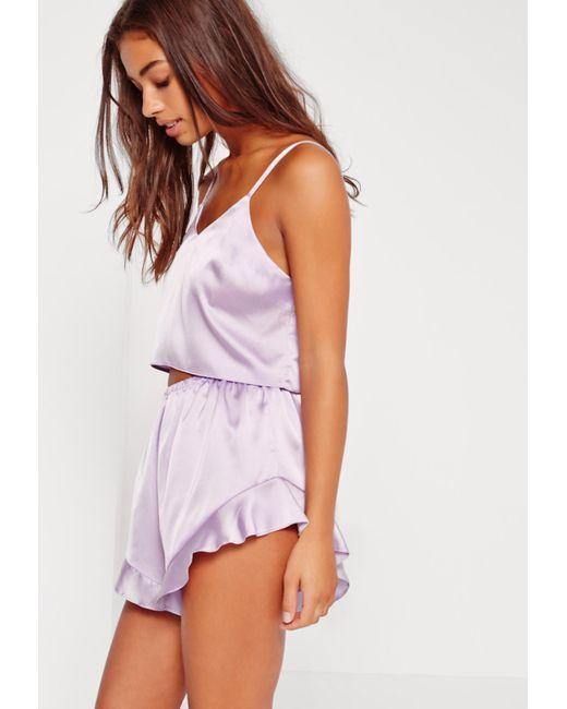 9f3a83414261 Lyst - Missguided Purple Satin Cami Frill Short Pyjama Set in Purple ...