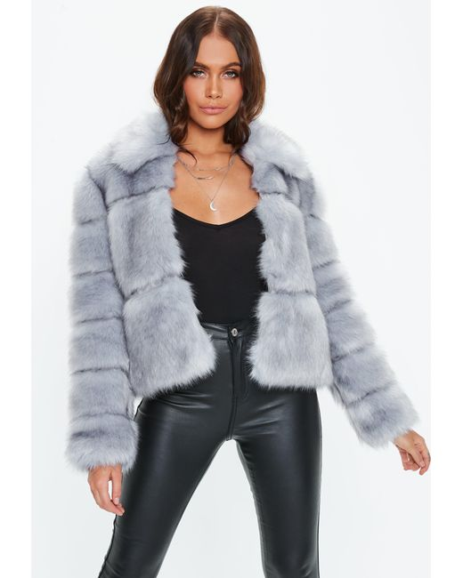 Missguided - Premium Blue Crop Pelted Faux Fur Jacket - Lyst
