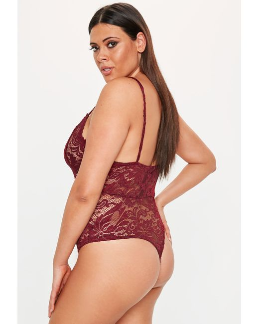 200386364b ... Missguided - Red Plus Size Burgundy Lace Bodysuit - Lyst ...