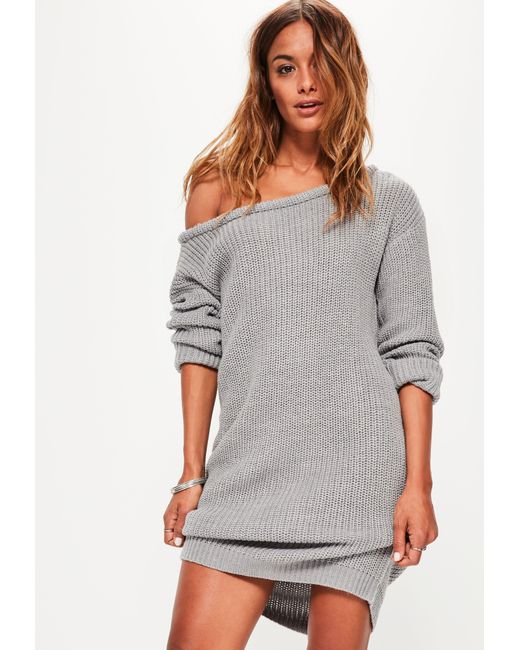 Lyst - Missguided Grey Off Shoulder Knitted Jumper Dress in Gray ... df0aadf30