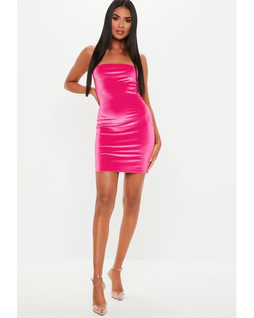 cb8866aeba Lyst - Missguided Neon Pink Velvet Bandeau Mini Dress in Pink