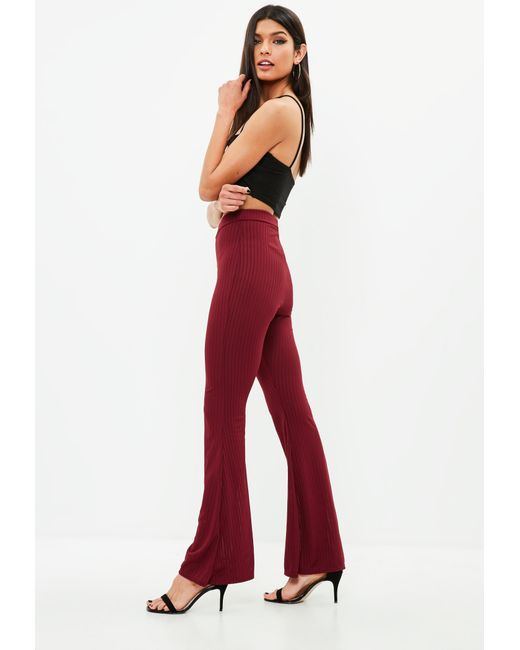 Missguided - Red Burgundy Ribbed Kick Flare Trousers - Lyst