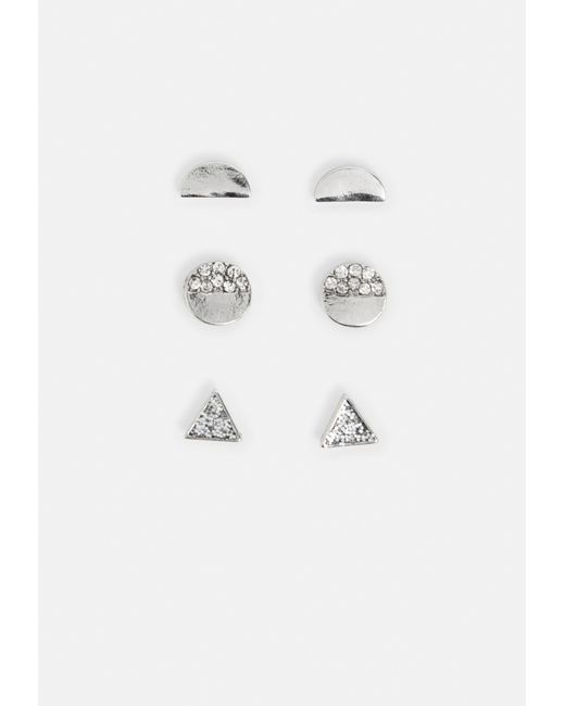Missguided - Metallic Silver Crystal Stud Multi Pack Earrings - Lyst
