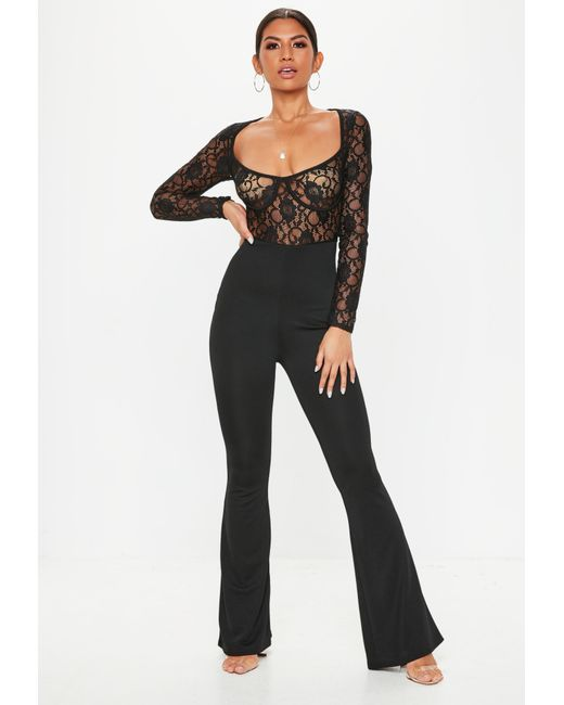 f0db9c5af48a Lyst - Missguided Black Lace Cupped Jumpsuit in Black