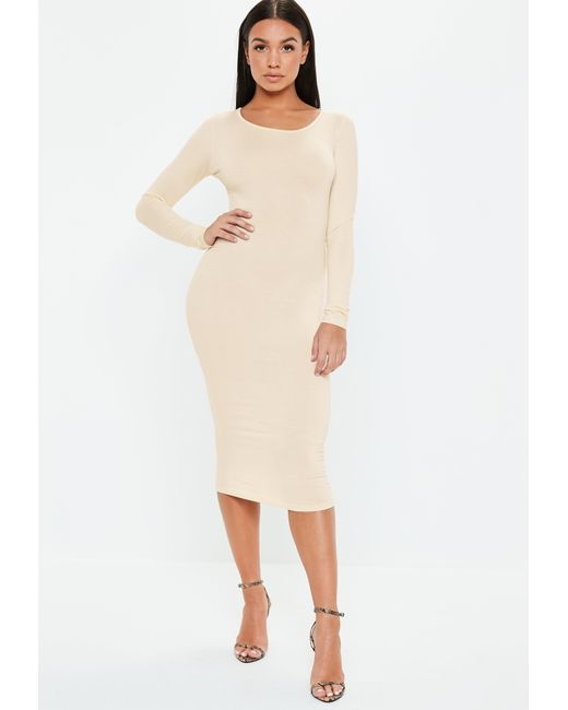 Missguided - Natural Cream Bodycon Long Sleeve Midi Dress - Lyst ... 937584378