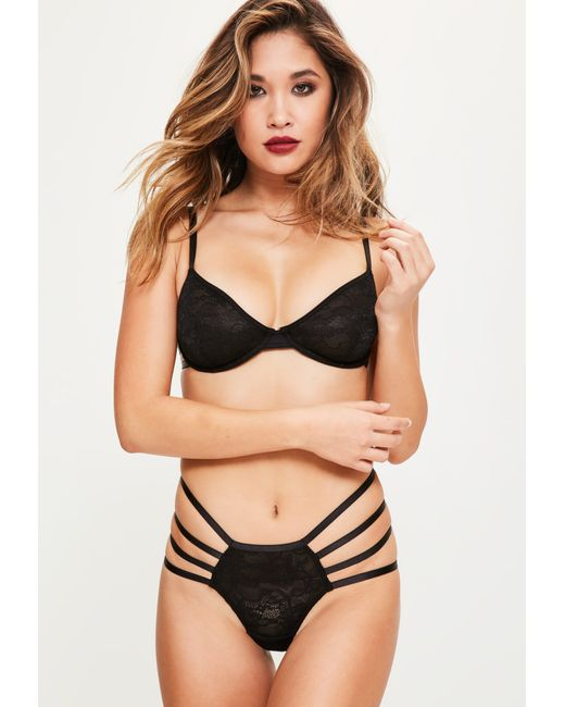 Missguided - Black Lace Strappy Detail Underwired Bra - Lyst