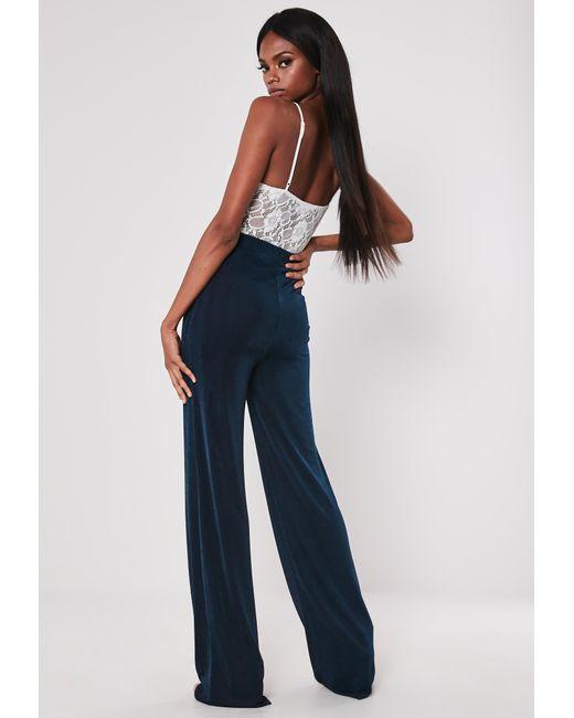 de66c103d1159 ... Missguided - Blue Tall Navy Slinky Wide Leg Pants - Lyst ...