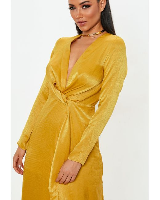 7be369d8fcaa Lyst - Missguided Mustard Wrap Front Maxi Dress in Yellow - Save 39%
