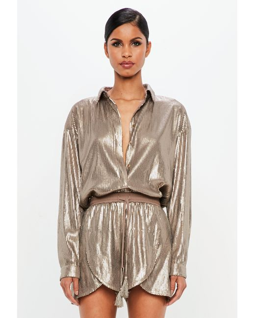 Missguided - Multicolor Peace + Love Bronze Sequin Shirt - Lyst