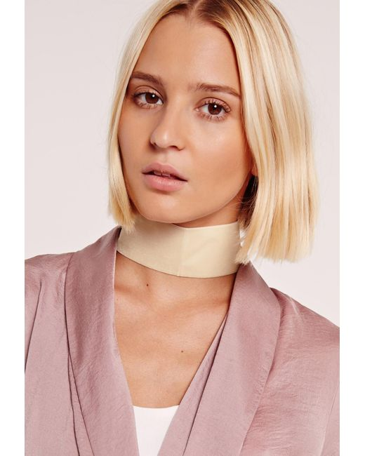 Missguided | Multicolor Thick Velvet Choker Necklace Cream | Lyst