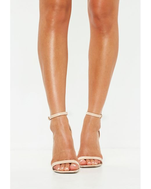 5ef6b70dd98 ... Missguided - Natural Nude Square Toe Barely There Heels - Lyst ...