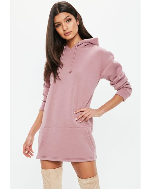 Missguided | Petite Pink Hooded Sweater Dress | Lyst