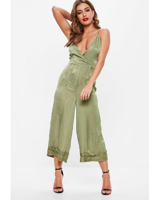 f21086ff514 Missguided - Green Khaki Cami Deep Cuff Culotte Jumpsuit - Lyst ...