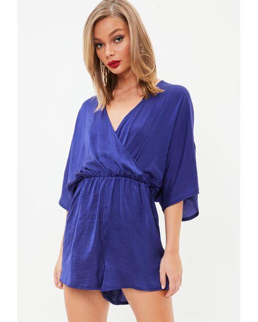 Missguided | Blue Hammered Satin Kimono Sleeve Romper | Lyst