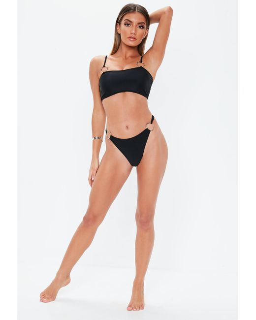8bbb5647e60c8 ... Missguided - Black Ring Side High Leg Bikini Brief - Lyst ...