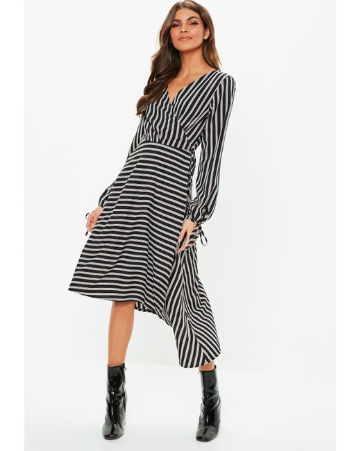 385185889f290 Lyst - Missguided Black Wrap Front Balloon Sleeve Stripe Dress in Black