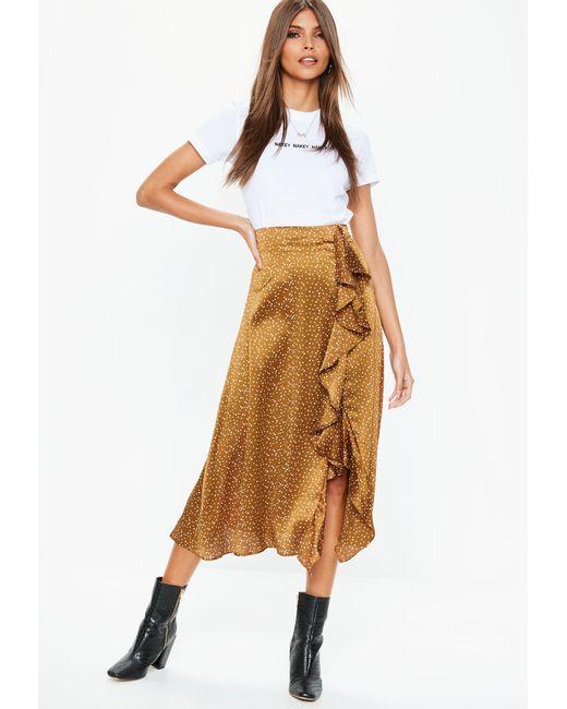 Missguided - Metallic Bronze Polka Dot Satin Midi Skirt - Lyst