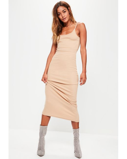 17d6d12f5ad0 Lyst - Missguided Nude Ribbed Strappy Midi Dress in Natural - Save 23%