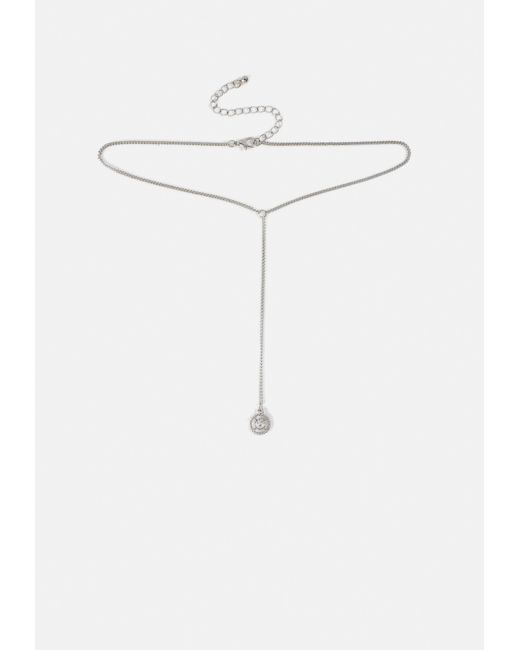 Missguided - Metallic Silver Chain Circle Drop Necklace - Lyst