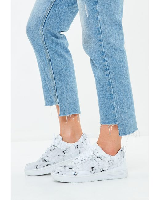 Missguided - White Marble Print Lace Up Flatform Sneakers - Lyst