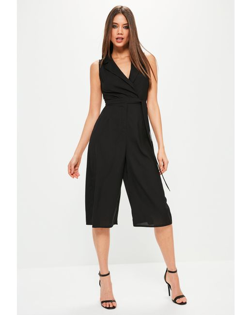 Missguided | Petite Black Tuxedo Sleeveless Wrap Jumpsuit | Lyst