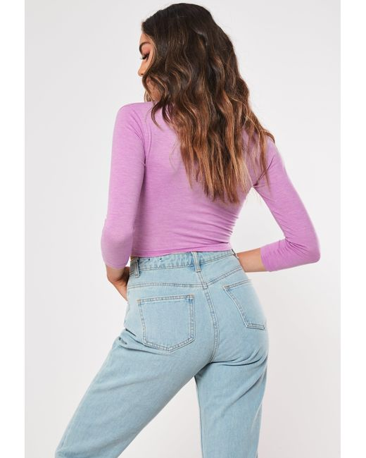 f3f56b108aa08 Missguided Purple Button Front Long Sleeve Crop Top in Purple - Lyst
