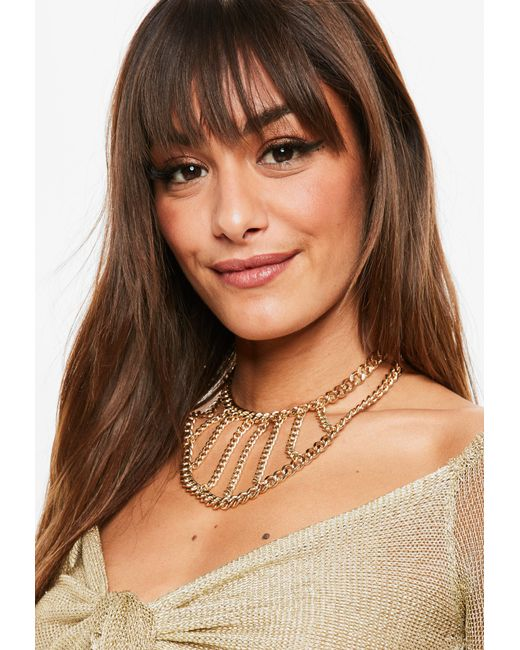 Missguided - Metallic Gold Thick Chain Choker - Lyst