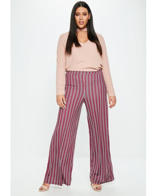 Missguided - Red Plus Size Burgundy Striped Wide Leg Trousers - Lyst